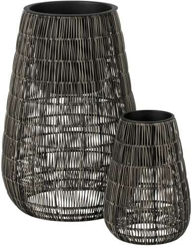 An Image of Nadda Set of 2 Tall Polyrattan Plant Stands, Brown