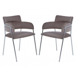 An Image of Tamzo Mink Velvet Dining Chairs With Chrome Legs In Pair