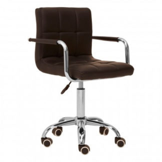 An Image of Becoa Home And Office Leather Chair In Black With Swivel Base