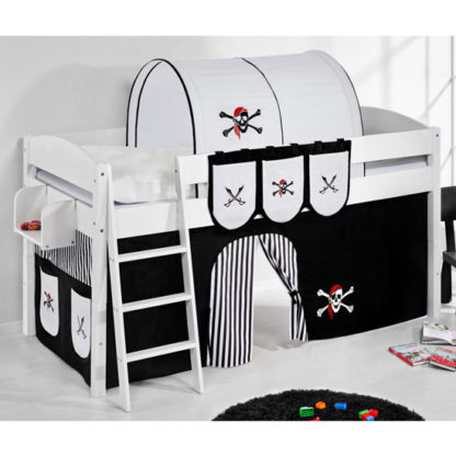 An Image of Lilla Children Bed In White With Pirate Black White Curtains