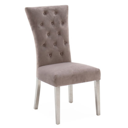 An Image of Pembroke Velvet Dining Chair In Taupe With Polished Legs