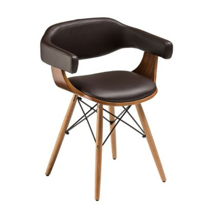 An Image of Tenova Brown Faux Leather Bedroom Chair With Beech Wooden Legs