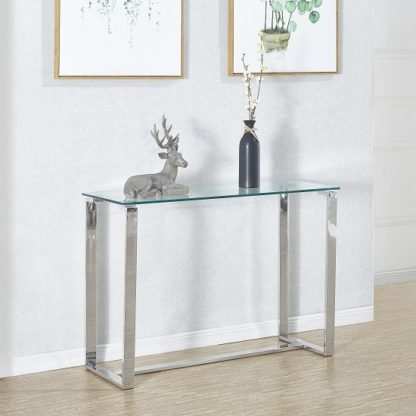 An Image of Megan Clear Glass Rectangular Console Table With Chrome Legs