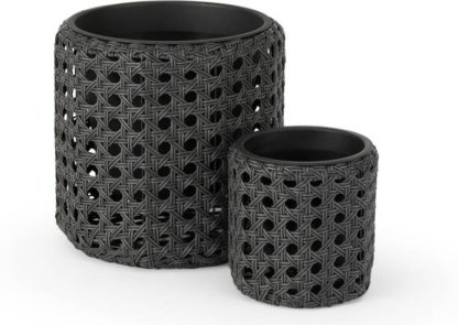 An Image of Chester Set of 2 Round Polyrattan Planters, Black