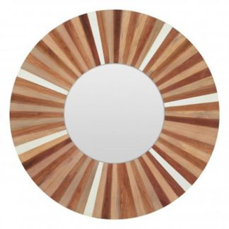 An Image of Burner Round Wall Bedroom Mirror In Sunburst Frame