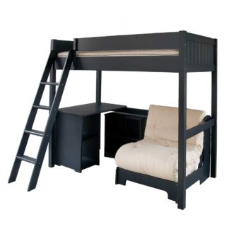 An Image of Pippin Childrens Highsleeper with Futon, Storage Desk And Bookcase