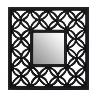 An Image of Recon Square Wall Bedroom Mirror In Black Lattice Frame