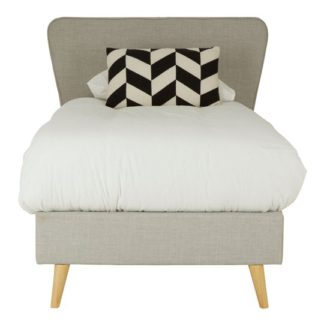 An Image of Parumleo Wooden Single Bed In Light Grey