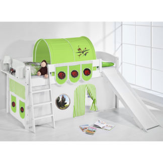 An Image of Lilla Slide Children Bed In White With Dragons Green Curtains
