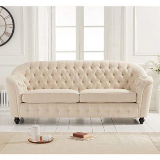An Image of Karrio Linen Fabric 3 Seater Sofa In Beige