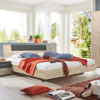 An Image of Jenny Wooden Double Bed In Hickory Oak And Graphite