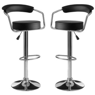 An Image of Scalo Black Faux Leather Gas Lift Bar Chairs In Pair