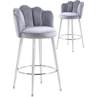 An Image of Mario Grey Velvet Bar Stools In Pair With Silver Legs