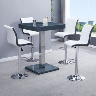 An Image of Topaz Glass Bar Table In Grey With 2 Ritz Grey White Stools