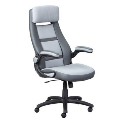 An Image of Elexo Faux Leather Home And Office Executive Chair In Dark Grey