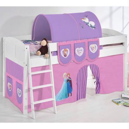 An Image of Hilla Children Bed In White With Frozen Purple Curtains