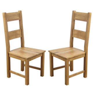 An Image of Hampshire Oak Dining Chairs With Solid Seat In A Pair