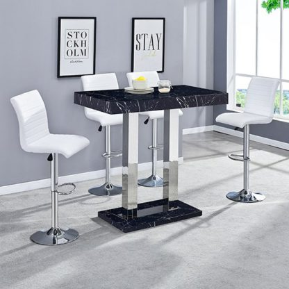 An Image of Milano Gloss Marble Effect Bar Table 4 Ripple White Stools