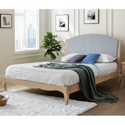 An Image of Antoinette Wooden Double Bed In Oak And Grey Fabric