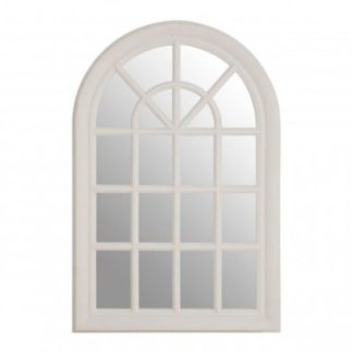 An Image of Sholas Window Design Wall Bedroom Mirror In White Frame