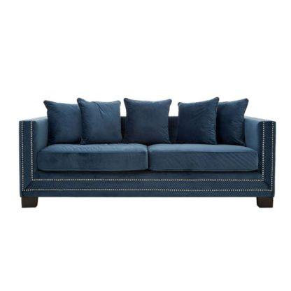 An Image of Pipirima 3 Seater Velvet Sofa In Midnight