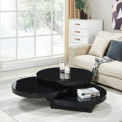 An Image of Triplo Rotating Coffee Table Round In Black High Gloss