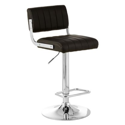 An Image of Porrima Channel Design Leather Seat Bar Stool In Black
