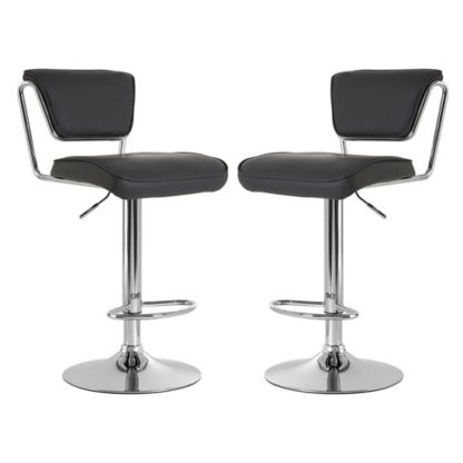 An Image of Tilotta Grey Faux Leather Gas Lift Bar Chairs Pair