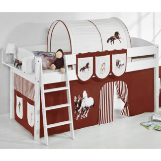 An Image of Lilla Children Bed In White With Horses Brown Curtains