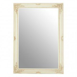 An Image of Zelman Wall Bedroom Mirror In Bone White Frame