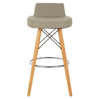 An Image of Porrima Faux Leather Bar Stool In Grey With Natural Legs