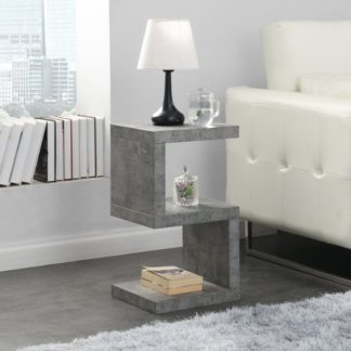 An Image of Miami Wooden S Shape Side Table In Concrete Effect