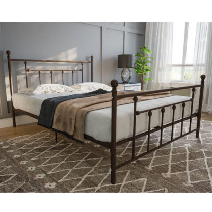 An Image of Manila Metal Double Bed In Bronze