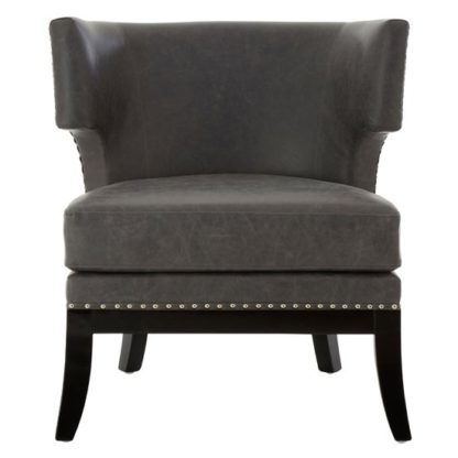 An Image of Furud Townhouse Faux Leather Bedroom Chair In Grey