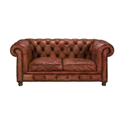 An Image of Timothy Oulton Westminster Feather 2 Seater Sofa, Vegabond Red Leather