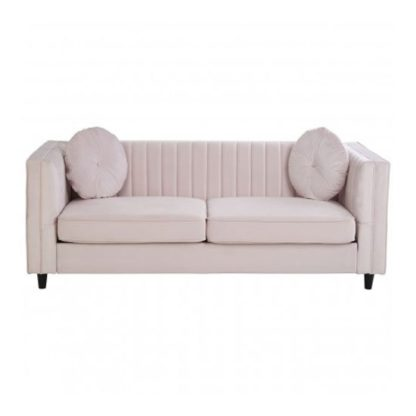 An Image of Lismore 3 Seater Velvet Sofa In Pink