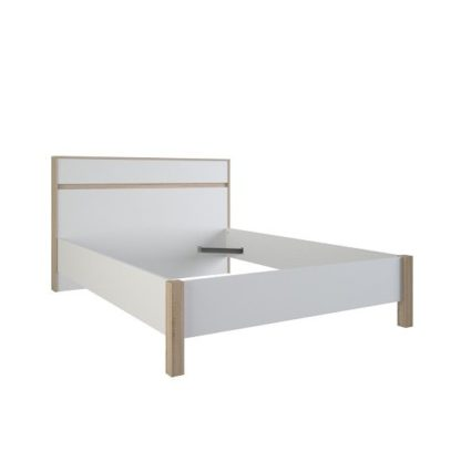 An Image of Corban Wooden Double Bed In Brushed Oak And White Pearl