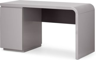 An Image of Mekkin Desk, Grey Gloss & Matte Plum