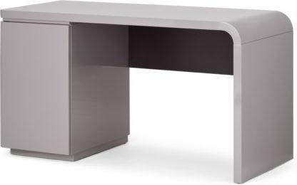 An Image of Mekkin Desk, Grey Gloss & Matte Plum