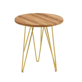An Image of Kerlin Round Lamp Table In Wooden Effect With Metal Base