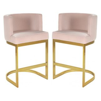 An Image of Lauro Pink Velvet Bar Chairs In Pair With Gold Legs