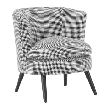 An Image of Dovat Round Fabric Bedroom Chair In Black And White