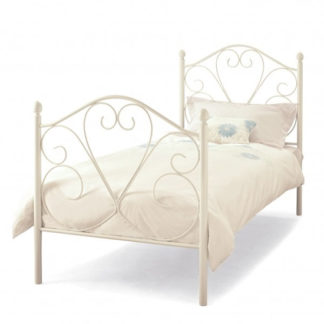 An Image of Isabelle Metal Single Bed In White Gloss