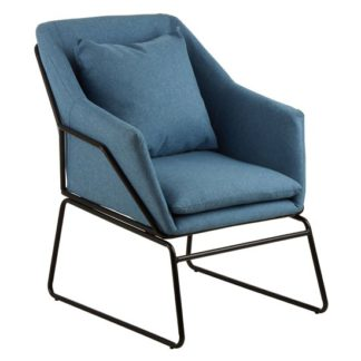 An Image of Porrima Fabric Upholstered Bedroom Chair In Blue