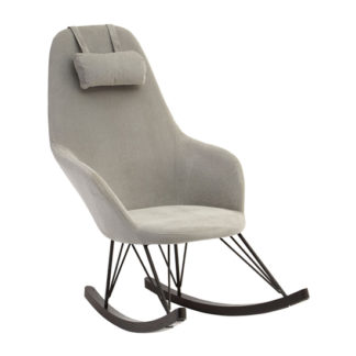 An Image of Giausar Fabric Upholstered Rocking Chair In Grey
