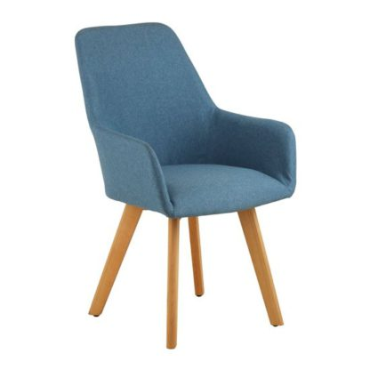 An Image of Porrima Fabric Upholstered Leisure Bedroom Chair In Blue