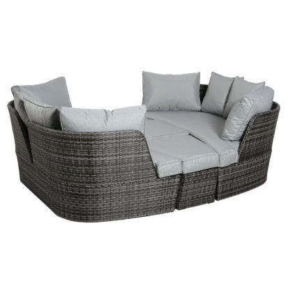 An Image of Ascot Garden Day Bed in Grey Weave and Grey Fabric