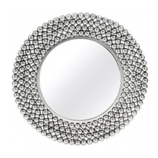 An Image of Templars Beaded Effect Wall Bedroom Mirror In Silver Frame