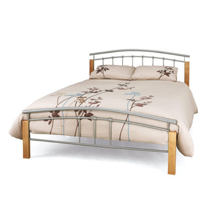 An Image of Tetras Metal Small Double Bed In Silver With Beech Posts