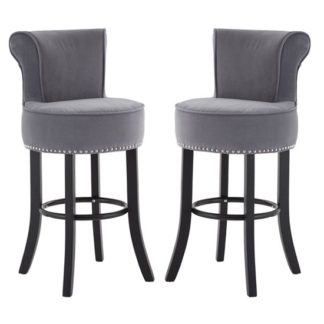 An Image of Trento Park Grey Fabric Upholstered Round Bar Chairs In Pair